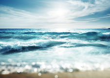 Beach in sunset time Royalty Free Stock Images