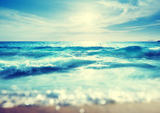 Beach in sunset time, tilt shift effect Royalty Free Stock Photography