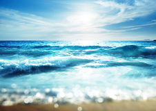 Beach in sunset time, tilt shift effect Royalty Free Stock Photos