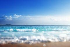 Beach in sunset time, tilt shift soft effect Royalty Free Stock Image