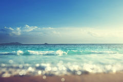 Beach in sunset time, tilt shift soft effect Royalty Free Stock Photo