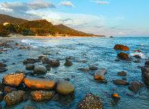 Beach sunset view (Greece, Lefkada). Royalty Free Stock Photo