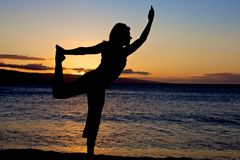 Beach Sunset Yoga Royalty Free Stock Image