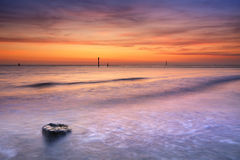 Beach at sunset in Zeeland, The Netherlands. A sandy in Zeeland, The Netherlands. Photographed at sunset Royalty Free Stock Photography