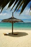 Beach sunshade. Grand Bay, Mauritius Royalty Free Stock Photo