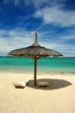 Beach sunshade. Grand Bay, Mauritius Royalty Free Stock Image