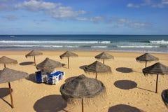 Beach with Sunshades Stock Image