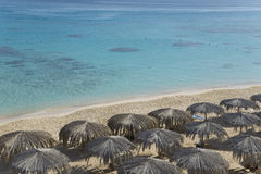 Beach with sunshades top view Royalty Free Stock Image