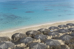 Beach with sunshades - top view Stock Images
