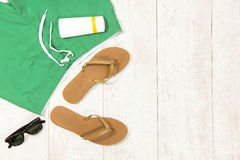 Beach Supplies On Floorboard Stock Photography