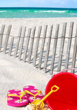 Beach supplies tropical setting Royalty Free Stock Photos