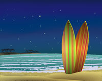 Beach with surf boards at night. vector Royalty Free Stock Photos