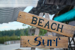 Beach and Surf. Wooden signboards Stock Image