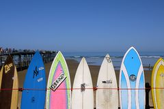 Beach Surfboards and blue sky Royalty Free Stock Photo