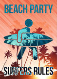 Beach surfers party vector poster template Stock Photos