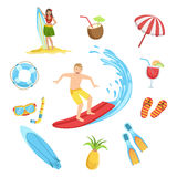 Beach And Surfing Holidays Icon Set Stock Images