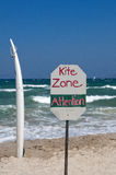 Beach surfing and kiting zone sign. Royalty Free Stock Images