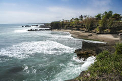 Volcanic coastline tanah lot bali indonesia Stock Photo