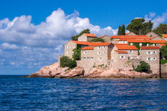 Beach on Sveti Stefan view Royalty Free Stock Images