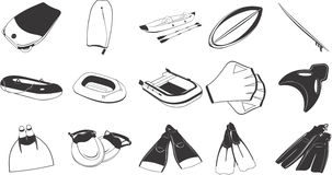 Beach and swimming items. Collection of illustrations depicting beach and swimming equipment Royalty Free Stock Photo