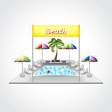Beach with swimming pool  vector illustration Royalty Free Stock Photo