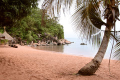 The beach on the Tanganyika Lake in Kigoma city, Tanzania. Royalty Free Stock Photo