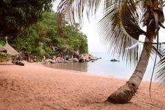The beach on the Tanganyika Lake in Kigoma city, Tanzania. Royalty Free Stock Photo