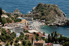 Beach In Taormina, Sicily. On Mediterranean Sea royalty free stock photography