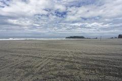 Beach in tauranga,m Mount Maunganui during a storm stock image