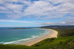 Coast of New Zealand. The beach of Tautuku Bay from Florence Hill Lookout, The Catlins,  South Island, New Zealand. The beach of Tautuku Bay from Florence Hill stock photos
