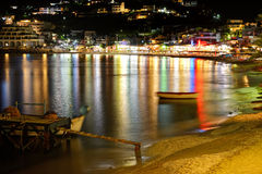 The beach, tavernas and bars in night illumination Stock Photo