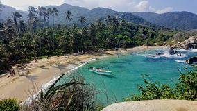 Beach in Tayrona National Park. A view from the hut in Cabo San Juan, Tayrona National Park, Colombia Royalty Free Stock Image