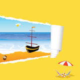 Beach with tearing paper color vector illustration Stock Images