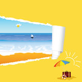 Beach with tearing paper vector illustration Royalty Free Stock Image