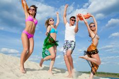 Beach teens  party Stock Image