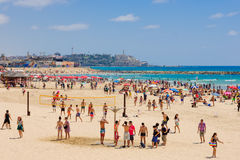 The beach of Tel-Aviv and Jaffa Royalty Free Stock Image