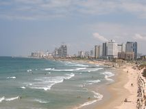 Beach of Tel Aviv in the summer. General view. Pan Royalty Free Stock Photos