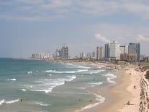 Israel Beach of Tel Aviv in the summer. General view. Pan. Beach of Tel Aviv in the summer. Mediterranean Sea Isarel Royalty Free Stock Photos