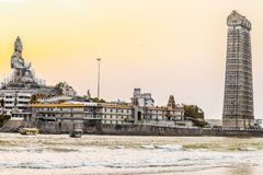 A beach temple at MURUDESHWAR stock images