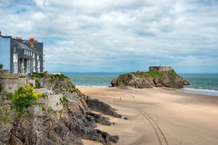 The Beach at Tenby. The beach and St catherine's Island at Tenby on the Pembrokeshire coast of Wales Stock Image
