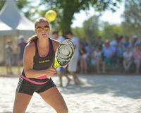 Beach Tennis World Team Championship 2014. Moscow, Russia - July 19, 2014: Dorothee Berreth of Germany in the match against Brazil during ITF Beach Tennis World Stock Photos