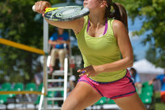 Beach Tennis World Team Championship 2014. Moscow, Russia - July 20, 2014: Dorothee Berreth of Germany in the match for 3rd place against Russia during ITF Beach Stock Photos