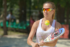 Beach Tennis World Team Championship 2014. Moscow, Russia - July 18, 2014: Ekaterina Kirgizova of Russia in the match against Hungary during ITF Beach Tennis Stock Photo