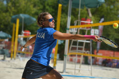 Beach Tennis World Team Championship 2014. Moscow, Russia - July 19, 2014: Eva D'Elia of Italy in the match against Russia during ITF Beach Tennis World Team Stock Image