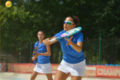Beach Tennis World Team Championship 2014. Moscow, Russia - July 18, 2014: Federica Bacchetta (in front) and Sofia Cimatti of Italy in the match against France Royalty Free Stock Photo