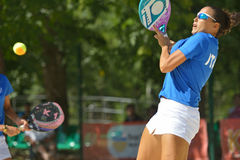 Beach Tennis World Team Championship 2014. Moscow, Russia - July 20, 2014: Federica Bacchetta of Italy in the final match against Brazil during ITF Beach Tennis Stock Photo