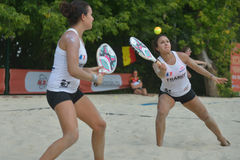 Beach Tennis World Team Championship 2014. Moscow, Russia - July 18, 2014: Marie-Eve (left) and Mathilde Hoarau of France in the match against Italy during ITF Stock Photography