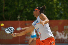 Beach Tennis World Team Championship 2014. Moscow, Russia - July 20, 2014: Petros Baghdatis of Cyprus in the match against Hungary during ITF Beach Tennis World Royalty Free Stock Photo