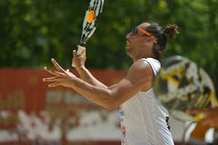 Beach Tennis World Team Championship 2014. Moscow, Russia - July 20, 2014: Petros Baghdatis of Cyprus in the match against Hungary during ITF Beach Tennis World Stock Photo