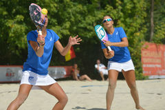 Beach Tennis World Team Championship 2014. Moscow, Russia - July 18, 2014: Woman double of Italy in the match against France during ITF Beach Tennis World Team Royalty Free Stock Images